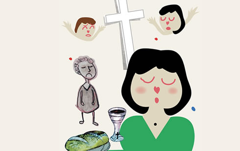 Home truths-illustration exasperated woman praying for patience