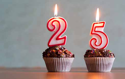two cupcakes with a 2 and 5 candle on them-Shutterstock